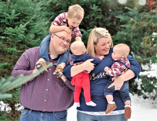 Ryan and Katie Hastrich, of Horseheads, enjoy time with their three children, all of whom spent time in the neonatal intensive care unit at Arnot Ogden Medical Center. Son Jack (on Ryan's back) had a twin brother who died during pregnancy.