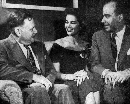 From left, William J. Vickery, manager of the Elmira Remington Rand plant; Martha Rocha, Miss Brazil 1954; and Hugo Gouthier, general counsel of Brazil, on Sept. 8, 1954.