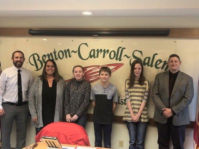 Benton-Carroll-Salem schools recognized the spelling bee winners from Oak Harbor Middle School. From left are Laramie Spurlock, Principal; Amy Sandrock, teacher; Phoebe Lenke; Nathan Warnke; Kalyssa Dehring, and Guy Parmigian, superintendent.