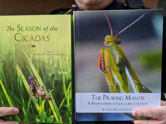 """""""The Praying Mantis: A Manifestation of God, come to Earth"""" is the new book by Fremont Police officer Lester Daniels, who previously wrote about Cicadas."""