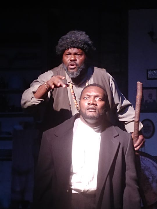 "Theatre Conspiracy's ""Joe Turner's Come and Gone."" Pictured are Cicero McCarter (top) and Lemec Bernard."