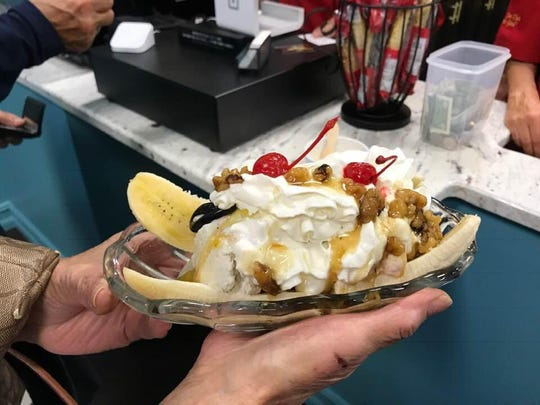 A banana split crafted with house-made ice cream from Sylwia's in Cape Coral.