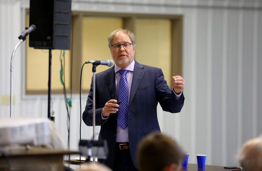 Mark Borchardt, a microbiologist with the U.S. Department of Agriculture's Agricultural Research Service, presented data on water contamination in Kewaunee County during a meeting at the Expo Hall at the Kewaunee County Fairgrounds, June 7, 2017. New results released this week found the risk of contamination from nitrate and coliform is more closely tied to animal manure than human waste.