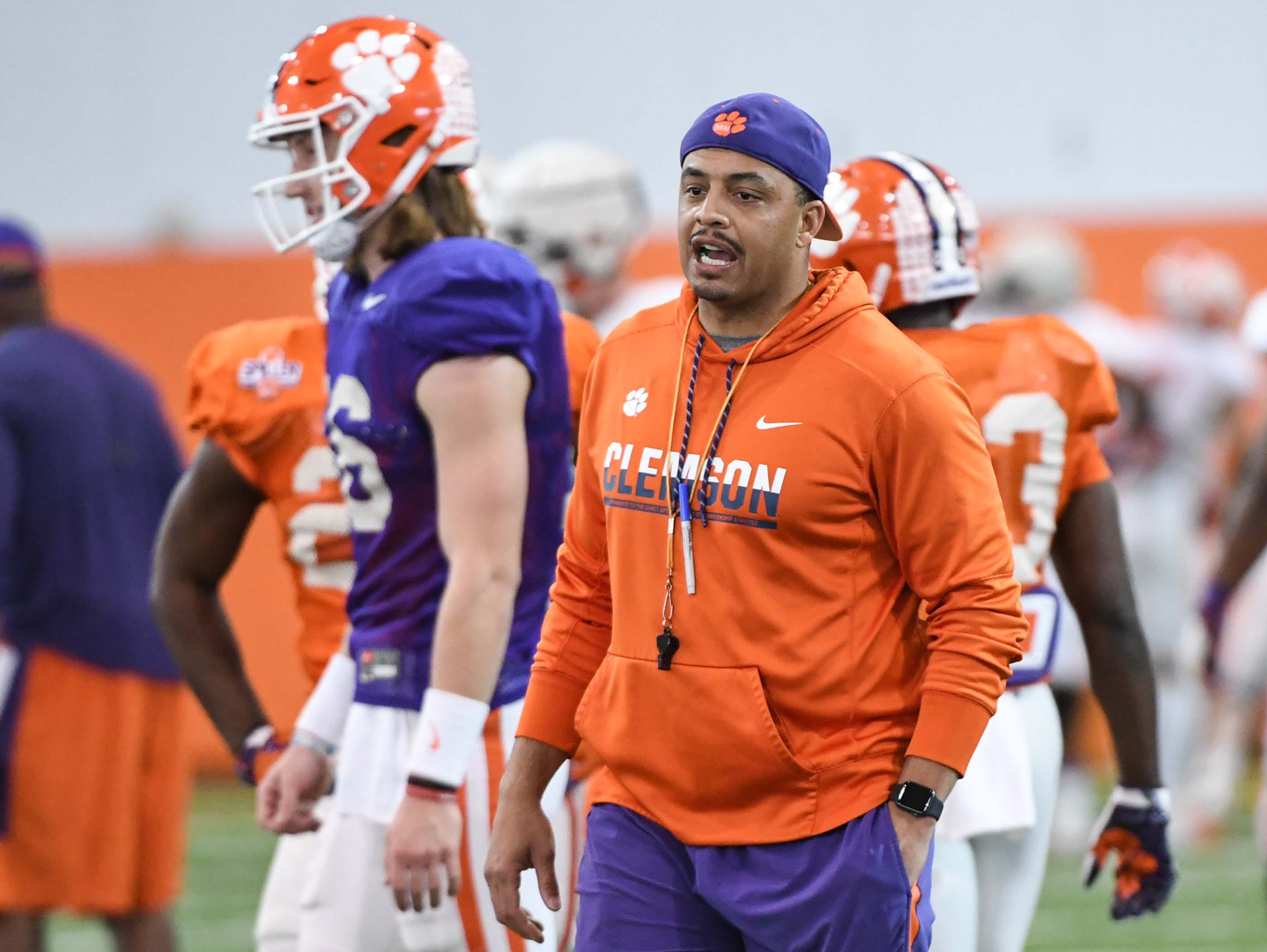 Clemson co-offensive coordinator Tony Elliott during practice at the Poe Indoor Facility in Clemson Monday.