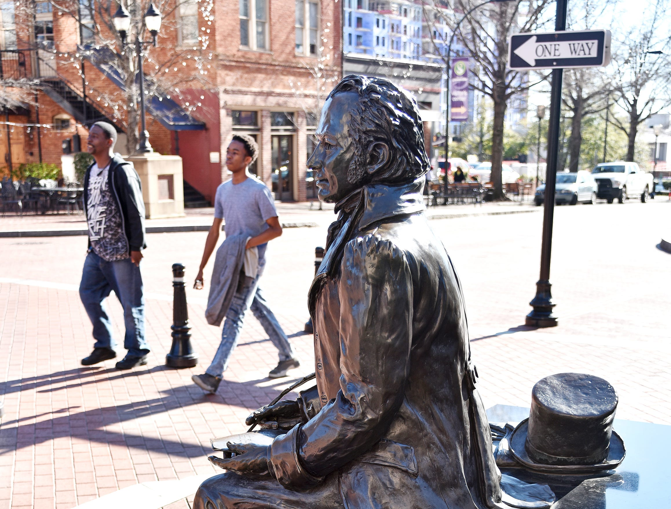 Joel Poinsett by Zan Wells was installed at the site of a historic speech made by Poinsett on July 4, 1851, and near one of his namesakes, the Westin Poinsett Hotel.