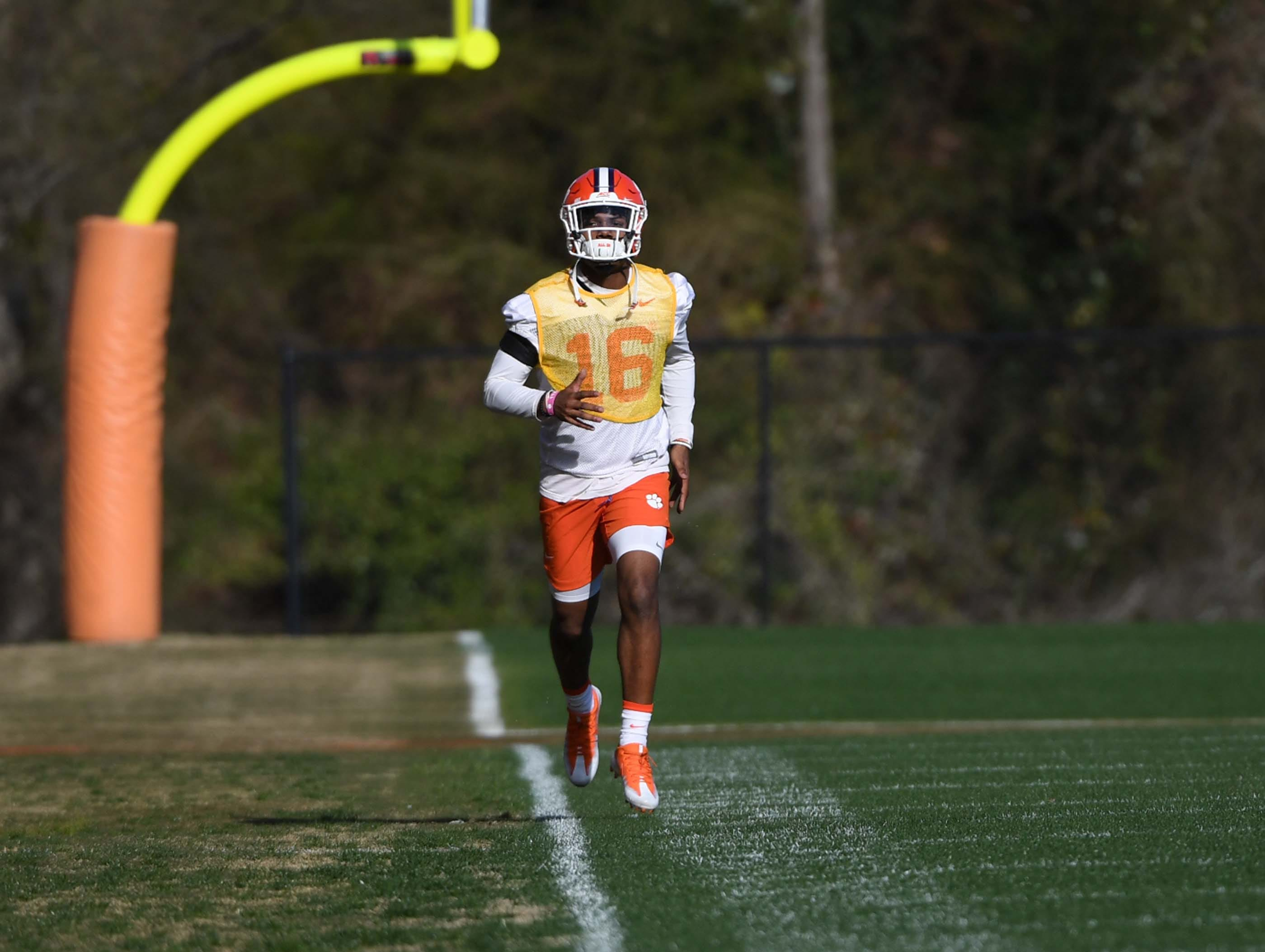Clemson defensive back Ray Thornton III (16) runs during practice at the Poe Indoor Facility in Clemson Monday.