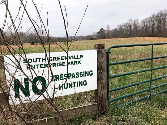 This photo on Sunday, March 3, 2019, shows an old sign still posted at the former Gunter farm, along Old Gunter Road outside Piedmont, for the South Greenville Enterprise Park. John Hopkins, who died in 2017, tried for more than a decade to develop the land as a business park, and John Montgomery of Spartanburg has since taken over.