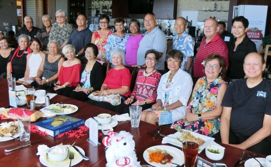The Guam High School Class of 1965 had a pre-valentine luncheon on Feb. 13 at Papa's Restaurant. The event was a great success and wonderful memories of our high school days were remembered and laughter filled the room. We also took a moment to remember in solemn silence our many classmates who died earlier. We also used the opportunity to plan for our July 2020 Class of 1965, 55th high school reunion and ask our classmates to contact Maryann Cabrera at maryannbcabrera47@yahoo.com or 688-5365 to help with the planning. Seated from left: Millie Anderson, Maryann Cabrera, Alicia Okada, Annie Duenas, Judith Camacho, Sera Taitano, Marilu Martinez, Annie Auyong, Doris Brooks, Hope Cristobal, and John Taitano. Standing from left: Victor Perez, Alfred Cabrera, Joe Okada, Jesus Guerrero, Bernie Terlaje, Lila Gombar, Trudy Plummer, Sam Cruz, Dayton Auyong, Joseph and Lina McDonald and Barbara Flores.