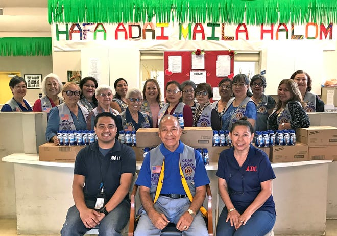 "The Guam Sunshine Lions Club presented nutritional products (donated by Micronesian Brokers, Inc.) to the Guma'Ginefli'e Senior Citizens Dementia Care Center in Yigo on Feb. 27 in their mission to ""Care for the Sick and the Elderly."" Seated from left: Jonathan Ymballa, supervisor; President Pete Babauta; and Doris Peters, supervisor. Standing from left: Lions Marietta Camacho, Lola Flores, Jill Pangelinan, Lorraine Rivera, Helen Mendiola, Tish Tano, Jovie Mejorada, Julie Cruz, Marie Salas, Dot Leon Guerrero, Sid Weedin, Dee Cruz, Annie Artero, Josephine Borja, Clarice Quichocho, and Doris Limtiaco."