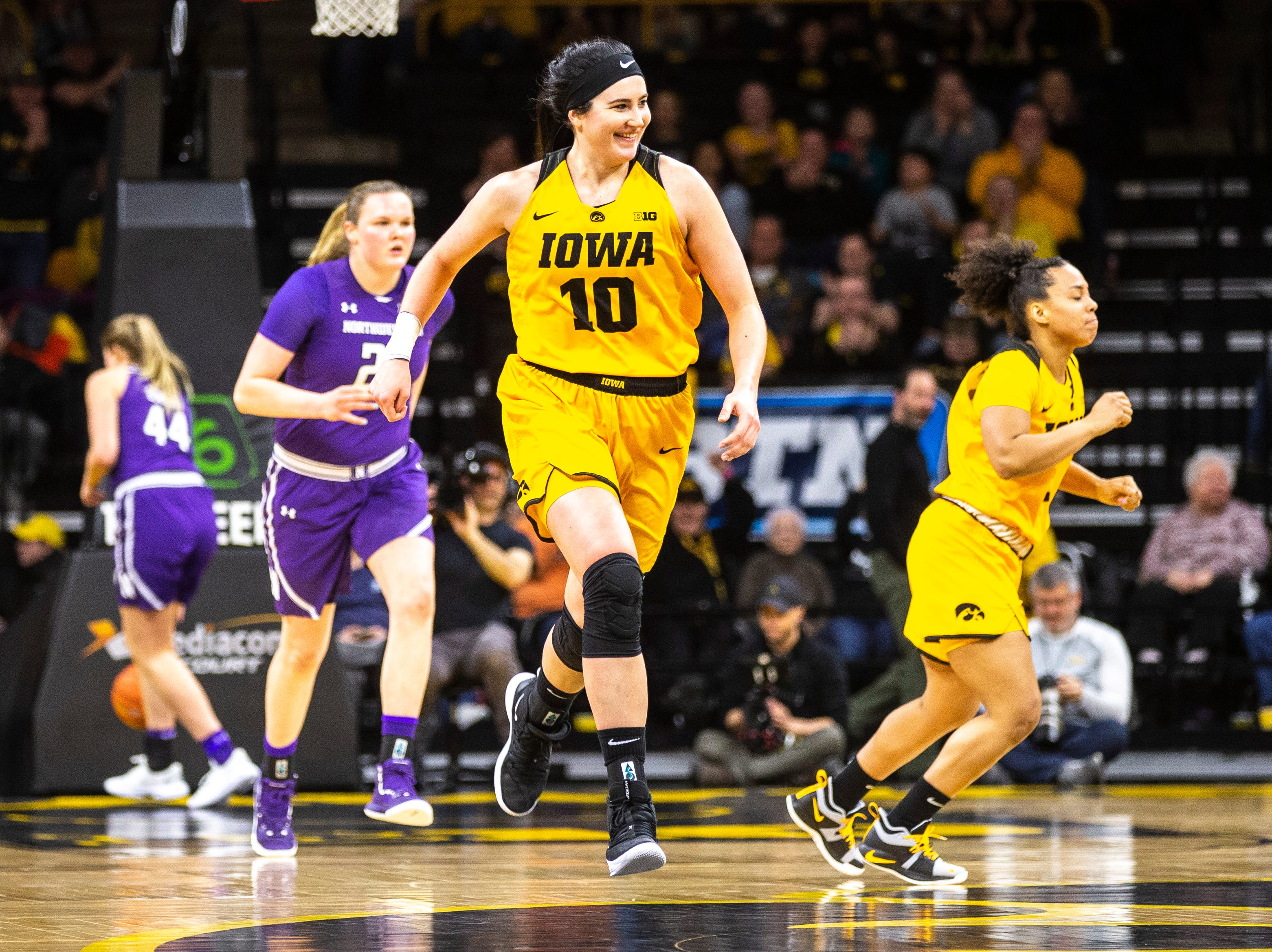 Iowa center Megan Gustafson (10) runs up court during a NCAA Big Ten Conference women's basketball game on Sunday, March 3, 2019, at Carver-Hawkeye Arena in Iowa City, Iowa.