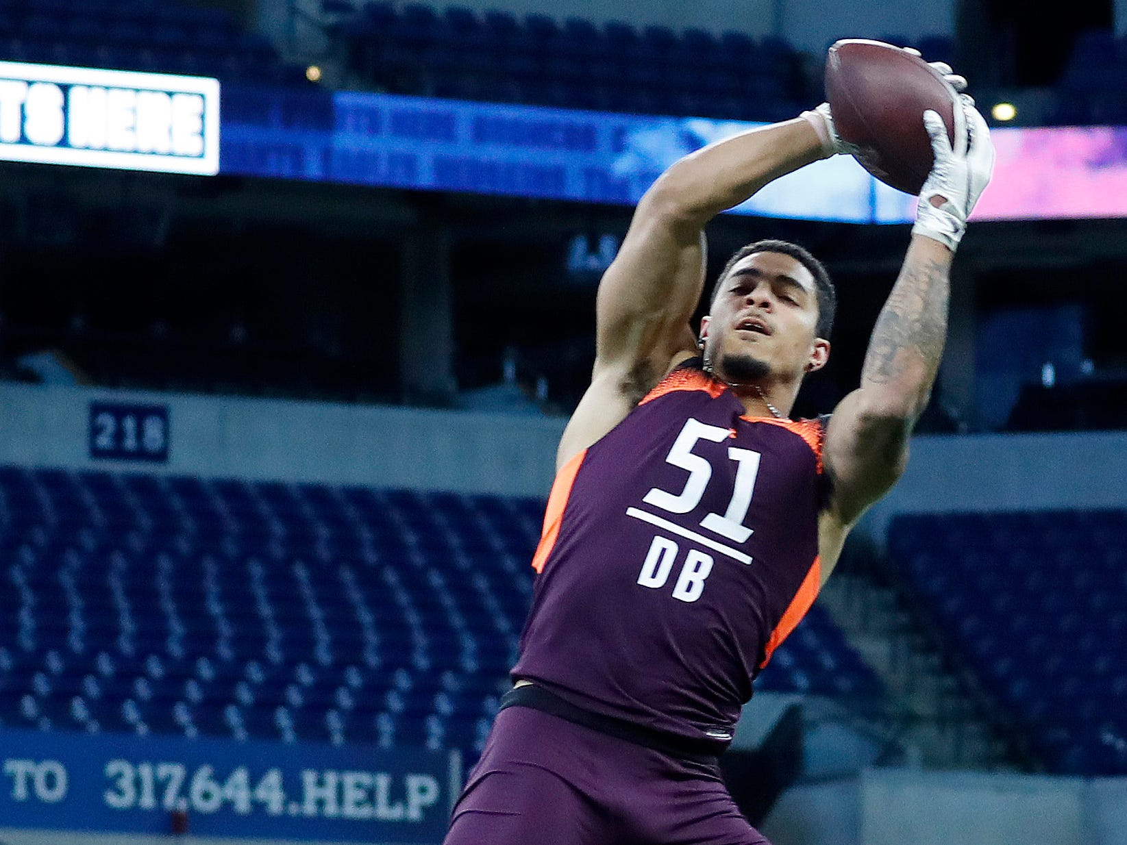 Iowa defensive back Amani Hooker goes through the workout drills during the 2019 NFL Combine at Lucas Oil Stadium.