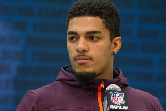 Iowa defensive back Amani Hooker speaks to media during the 2019 NFL Combine at the Indiana Convention Center.