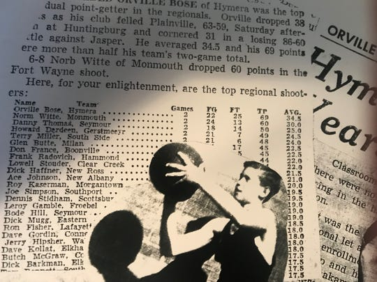 Dixie Bose, wife of Orville Bose, made a collage of his newspaper articles. Here is Bose's place as top regional shooter in 1956.