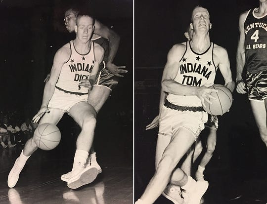 Dick Van Arsdale (left) and Tom Van Arsdale (right) playing for the Indiana All-Stars in 1961.