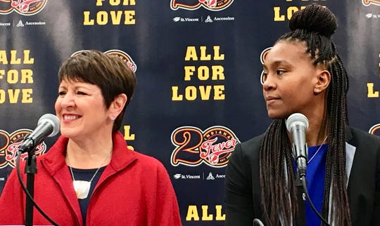 Allison Barber (left) was introduced as Indiana Fever's new president on Monday. Tamika Catchings (right) will be the team's VP of Basketball Operations.