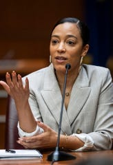 Attorney, political analyst and businesswoman Angela Rye speaks to students Monday at the IU Robert H. McKinney School of Law in Indianapolis.