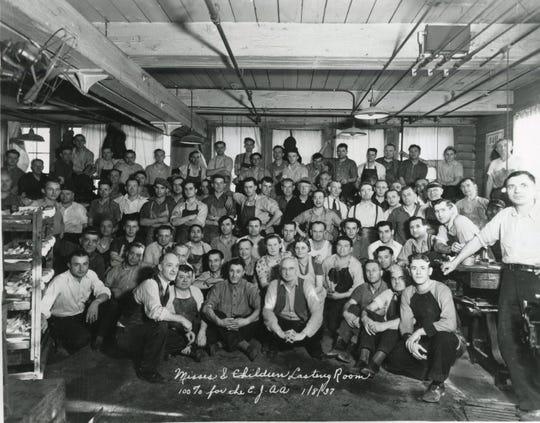 William Webb among other Endicott Johnson workers of many nationalities.