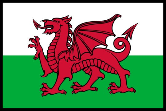 The Welsh flag.