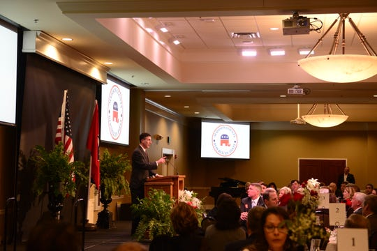 Congress David Kustoff (R) talks about the accomplishments of the Madison County Republican Party at their Reagan Day Dinner at the Carl Grant Events Center at Union University in Jackson, Tenn. on Mar. 1, 2019.