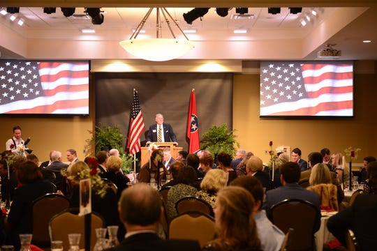Madison County Mayor Jimmy Harris addresses the audience at the Reagan Day Dinner at the Carl Grant Events Center at Union University in Jackson, Tenn. on Mar. 1, 2019.