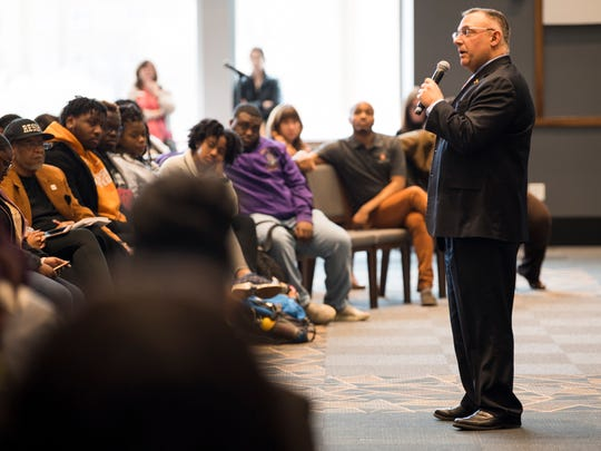 Vincent Carilli, Vice Chancellor for Student Life Division of Student Life, answers a question during a dialogue with students about racism on the University of Tennessee's campus held in the UT Student Union Ballroom on Monday, March 4, 2019.