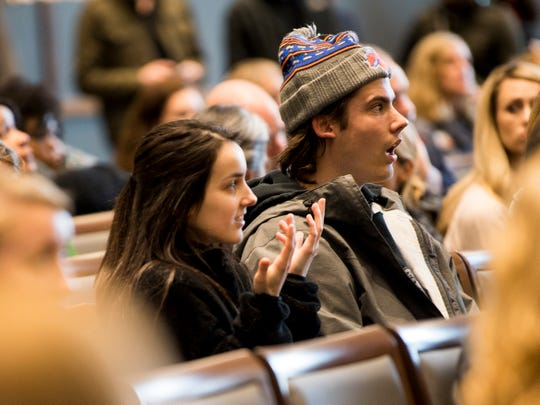 Students react to a statement made by Vincent Carilli, Vice Chancellor for Student Life Division of Student Life, during a dialogue with students about racism on the University of Tennessee's campus held in the UT Student Union Ballroom on Monday, March 4, 2019.