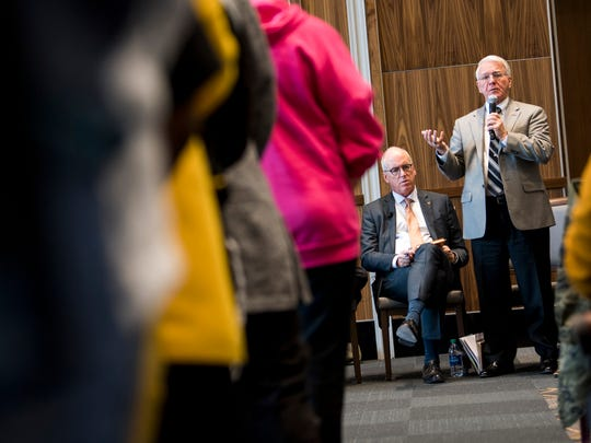 Interim Chancellor Wayne T. Davis answers a question during a dialogue with students about racism on the University of Tennessee's campus held in the UT Student Union Ballroom on Monday, March 4, 2019.