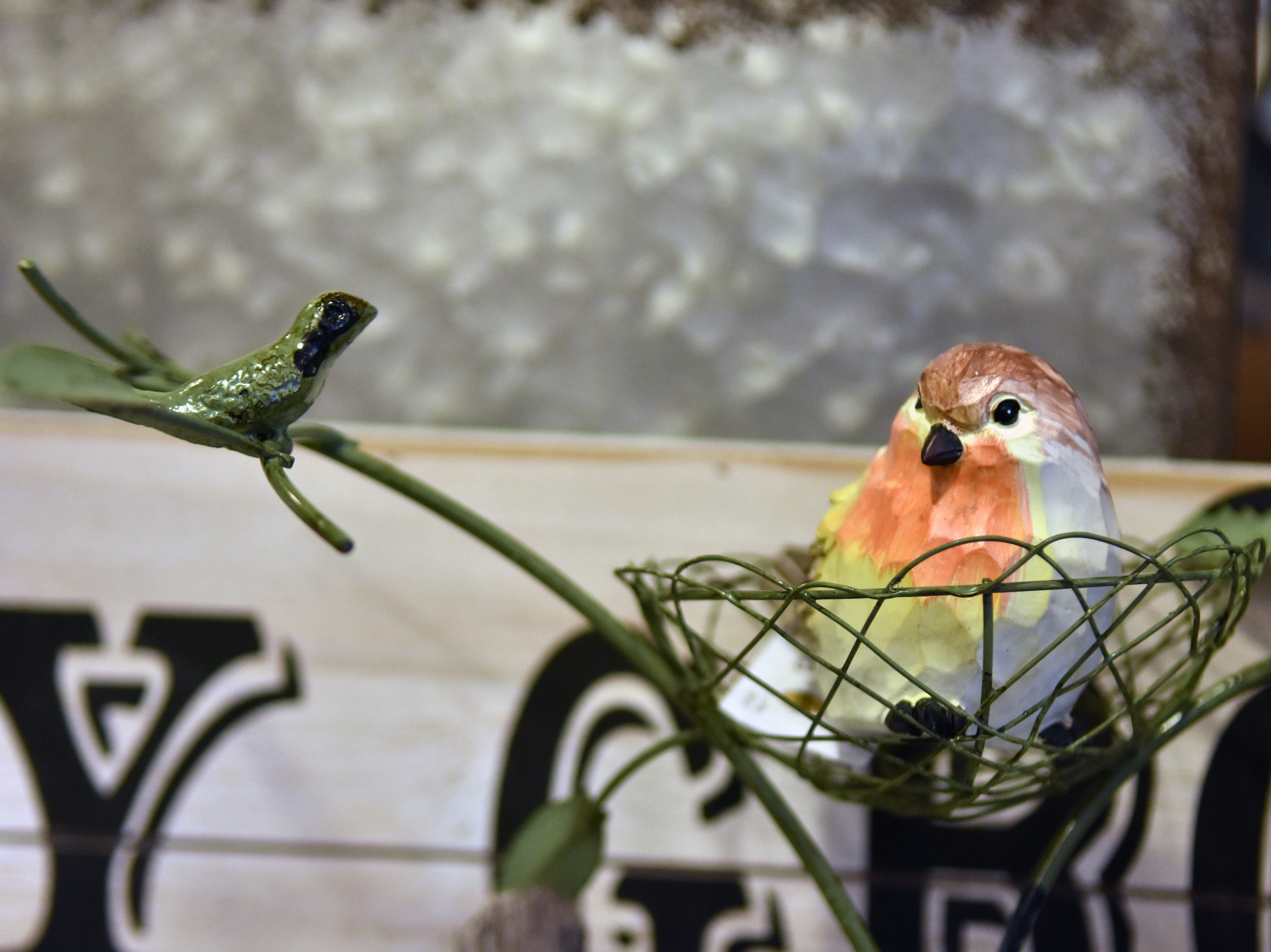 You can almost hear these birds chirping when you enter Real Deals. Check out their variety of fun decor items just in time for spring.