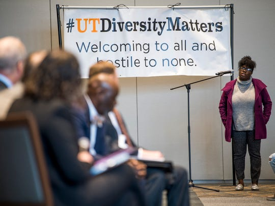 A student asks a panel of University of Tennessee admin a question during a dialogue with students about racism on the University of Tennessee's campus held in the UT Student Union Ballroom on Monday, March 4, 2019.