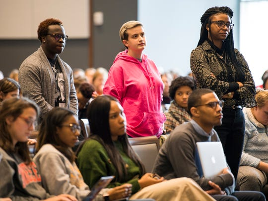 Students listen during a dialogue with students about racism on the University of Tennessee's campus held in the UT Student Union Ballroom on Monday, March 4, 2019.