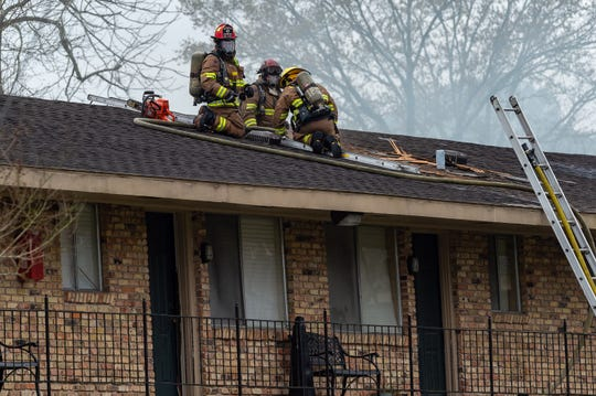 Lafayette Fire Fighters respond to Major Apartment fire at 1108 South College Rd in Lafayette, LA.  Monday, March 4, 2019.