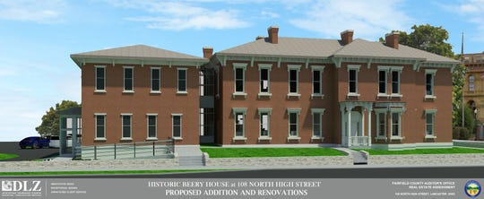 This rendering shows the potential renovations to the Beery House at the corner of East Main and North High streets in Lancaster. The building was formerly the home of the Fairfield County Sheriff's Department's civil and investigative bureaus. After the renovations the Fairfield County Auditor's Office will use the building.