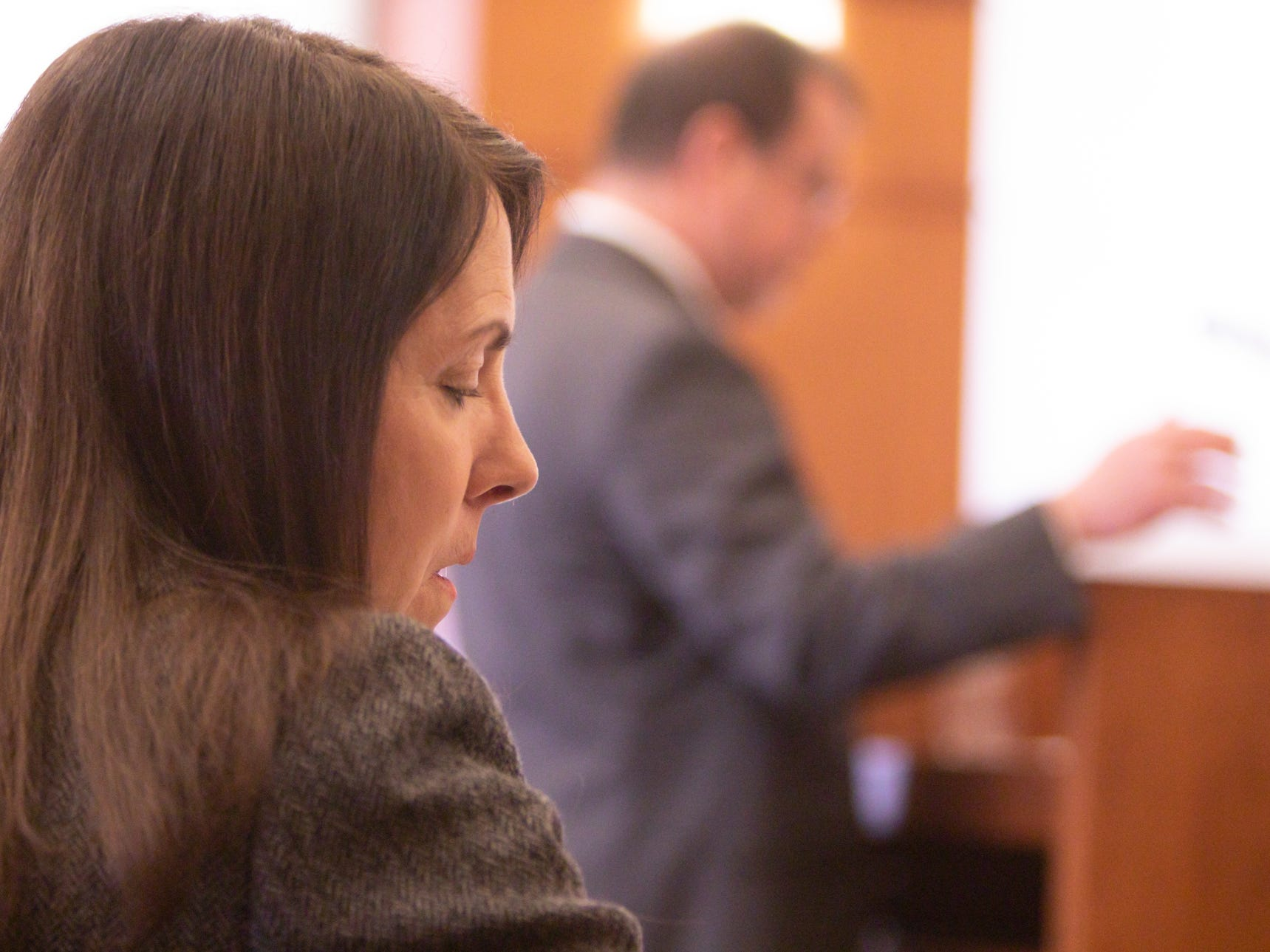 Judge Theresa Brennan listens as  Examiner Lynn Helland makes his case to the Judicial Tenure Commission in Detroit Monday, March 4, 2019.