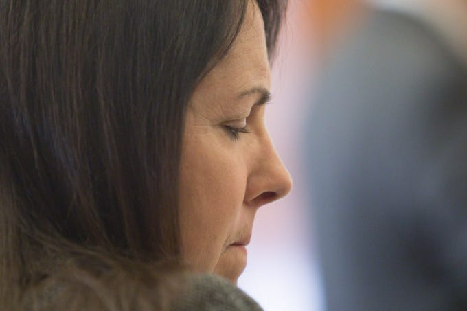 Judge Therese Brennan appears before the board of the Judicial Tenure Commission Monday, March 4, 2019 in Detroit.