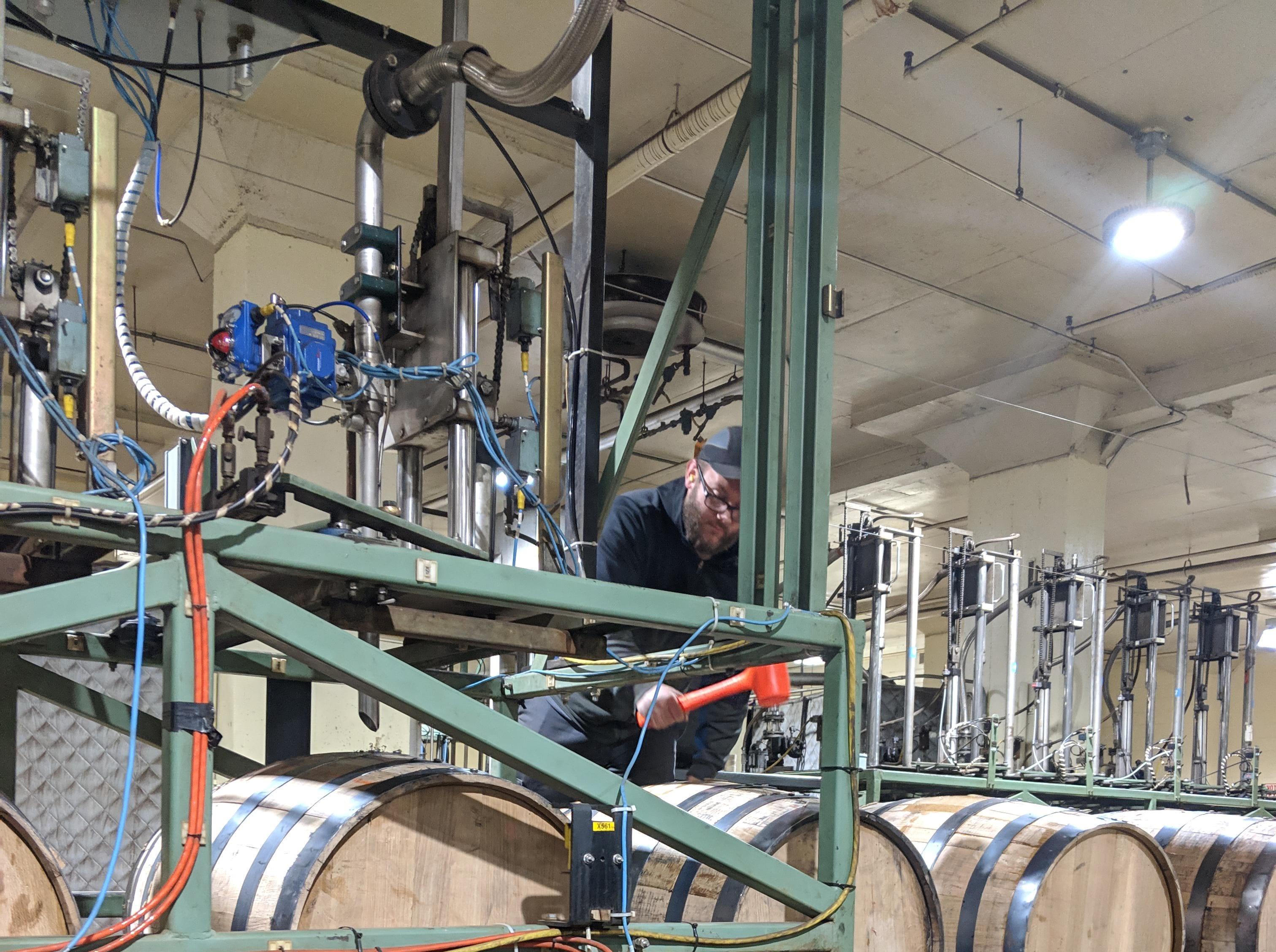 The barrel line at the MGP distillery in Lawrenceburg, Indiana, just outside Cincinnati.
