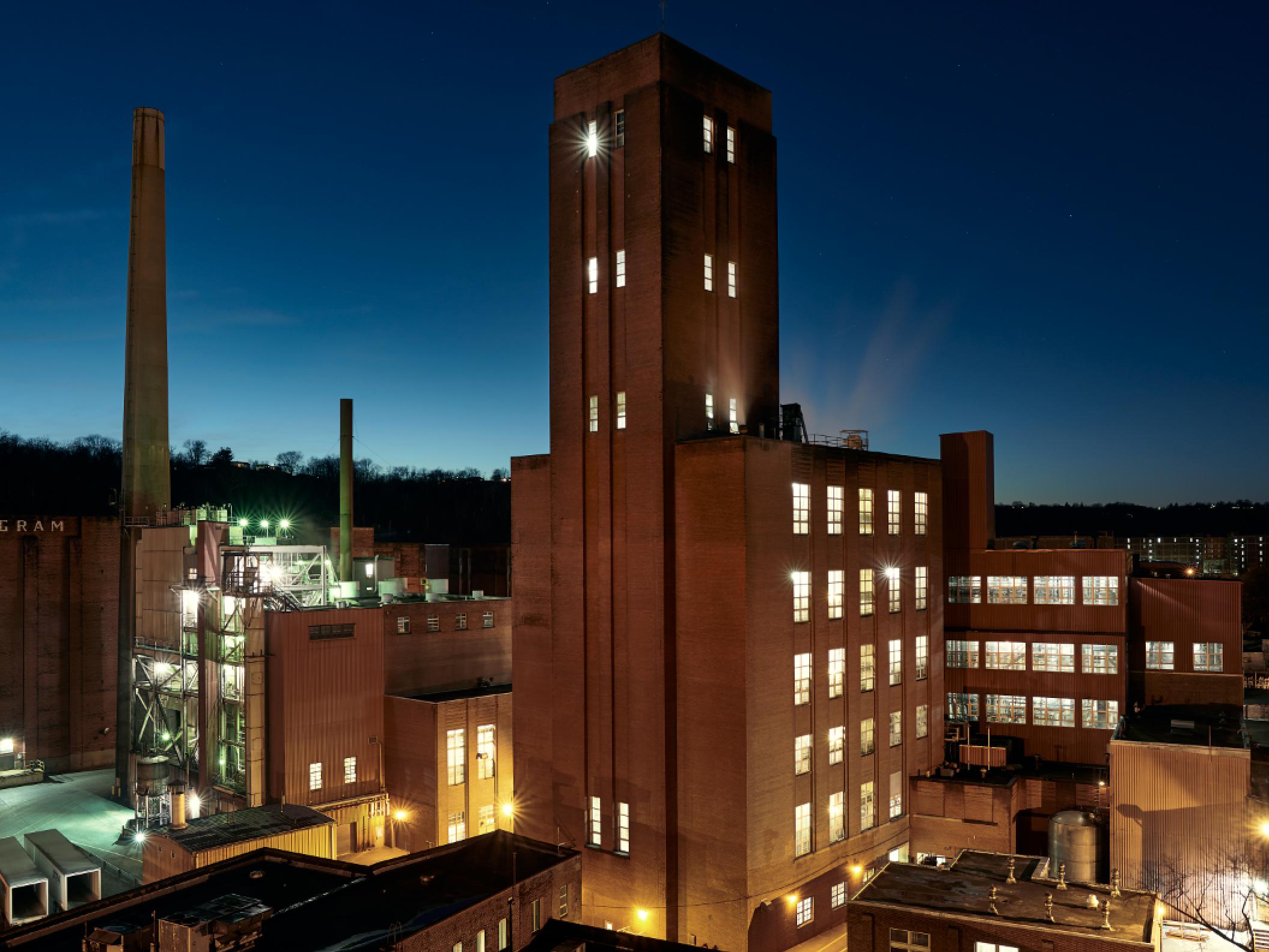 A nighttime shot of the MGP distillery in Lawrenceburg, Indiana, just outside Cincinnati.