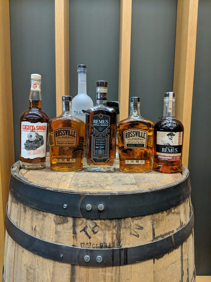 The lineup of brands MGP now produces under their own name at the MGP distillery in Lawrenceburg, Indiana, just outside Cincinnati.