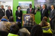 Kevin Cosby speaks at Monday's press conference about the Passport HQ under construction on Broadway.