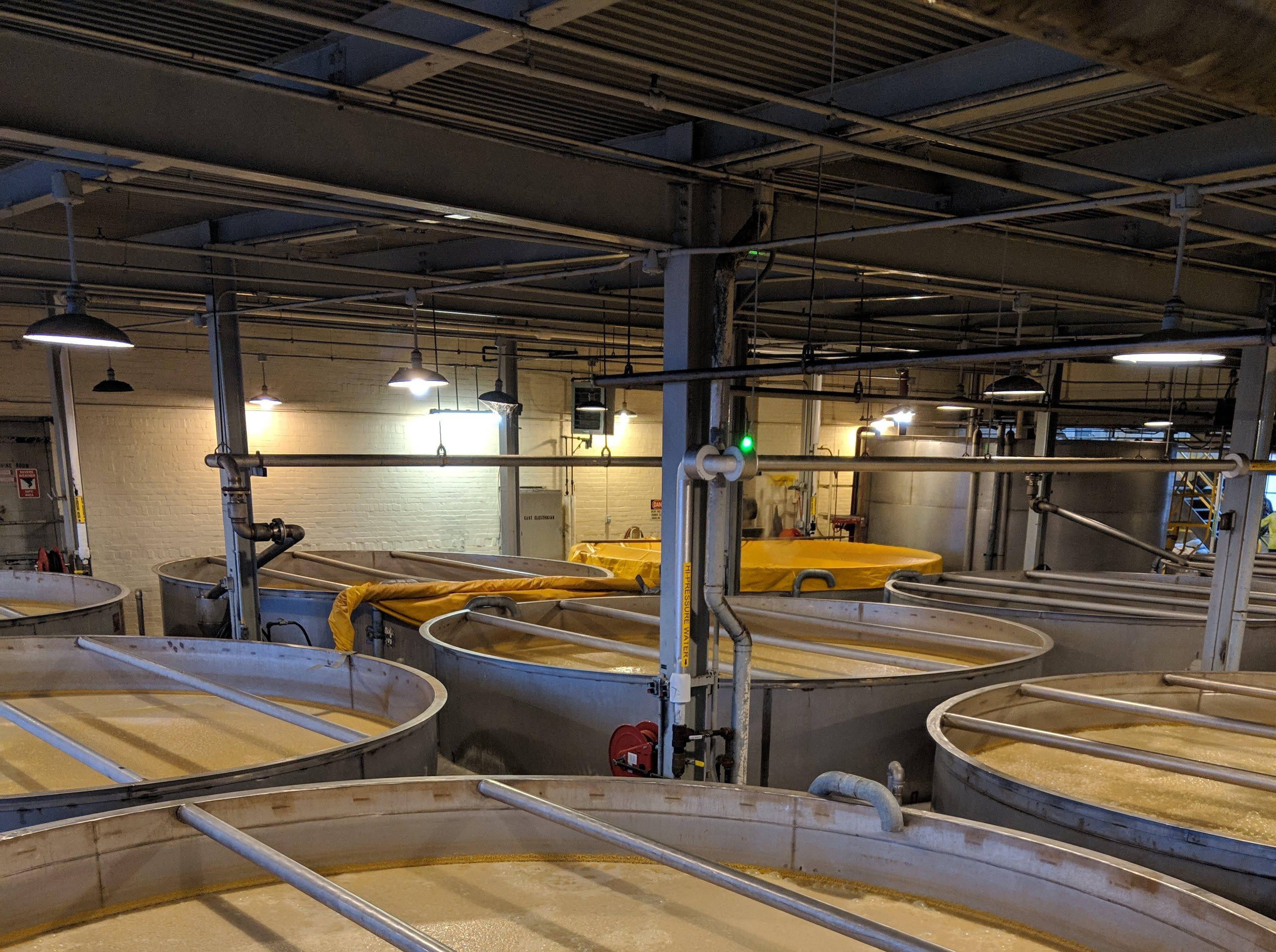 Mash barrels the MGP distillery in Lawrenceburg, Indiana, just outside Cincinnati.