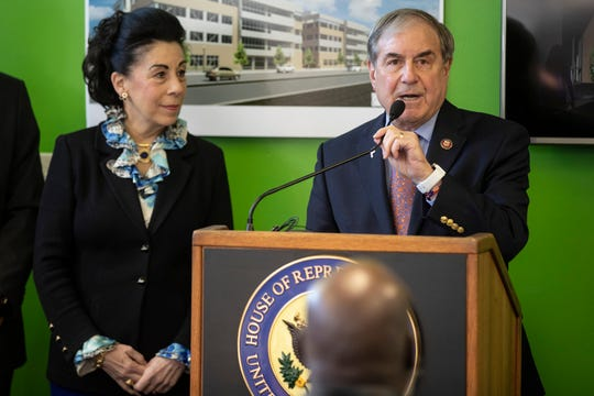 Congressman John Yarmuth speaks during a press conference nearby the construction site of the new Passport Headquarters on West Broadway. March 4, 2019
