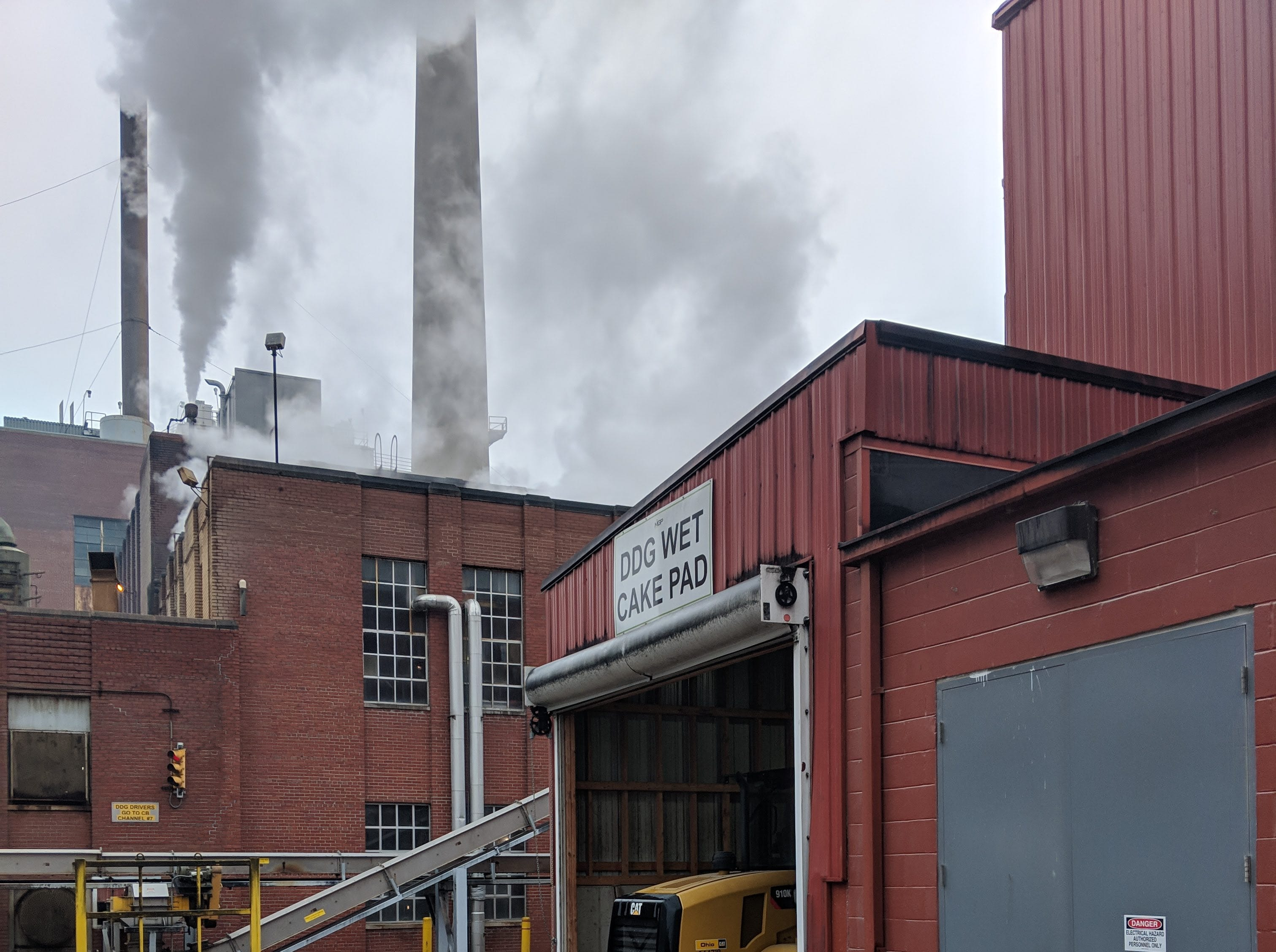 An exterior shot of the MGP distillery in Lawrenceburg, Indiana, just outside Cincinnati.