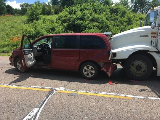 A semi heading into a construction zone failed to stop and caused a four-vehicle crash, killing one person in the Clark County town of Grant