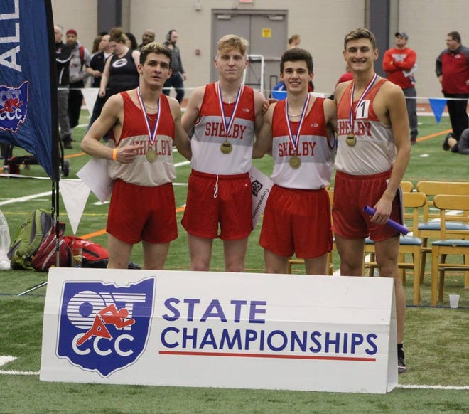 From left, Sam Logan, Caleb Brown, Sam Swanger and Blake Lucius kicked off a tremendous indoor state meet for Shelby by winning the 4x800 relay. Logan, Brown and Lucius also won individual gold, with Brown shattering the meet record in the 3200.