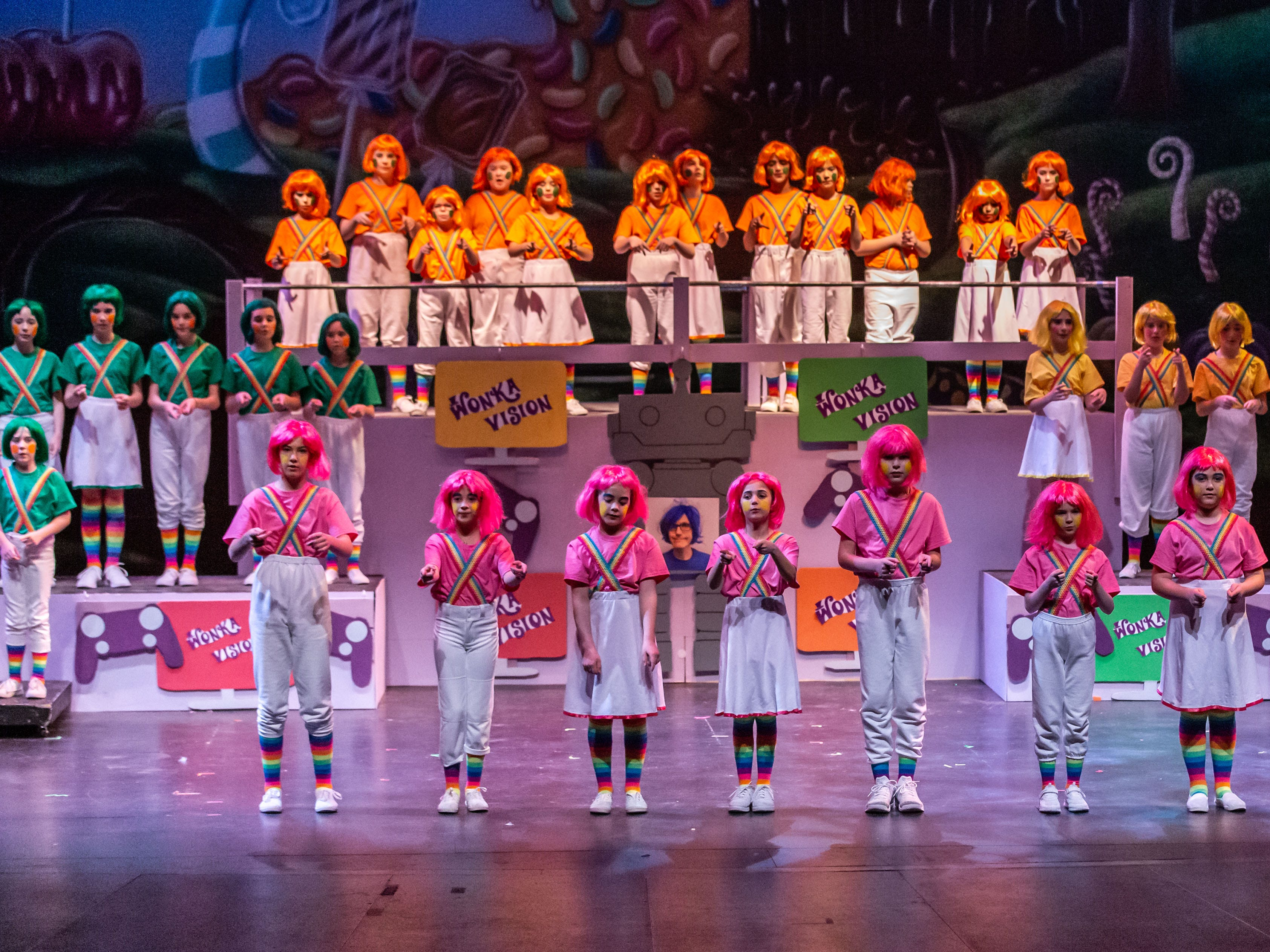 Brookfield Elementary students perform a scene from Roald Dahl's Willy Wonka Jr. during rehearsal at the Sharon Lynne Wilson Center for the Arts in Brookfield on Saturday, March 2, 2019. Public performances are at 7 p.m. on March 2 and 2 p.m. on March 3.