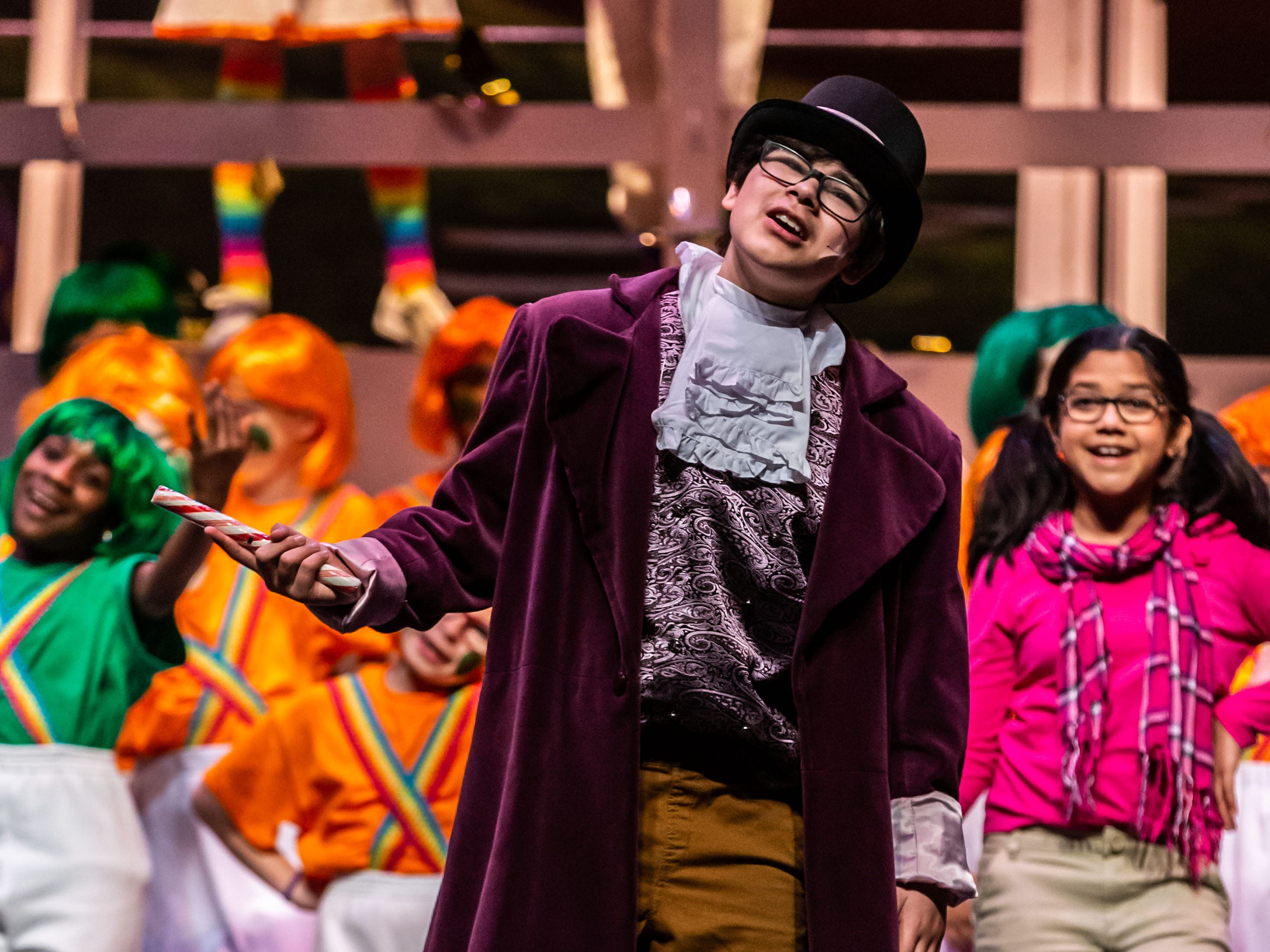 Brookfield Elementary fifth grader, Aidan Riddle, portrays Willy Wonka in a scene from Roald Dahl's Willy Wonka Jr. during rehearsal at the Sharon Lynne Wilson Center for the Arts in Brookfield on Saturday, March 2, 2019. Public performances are at 7 p.m. on March 2 and 2 p.m. on March 3.