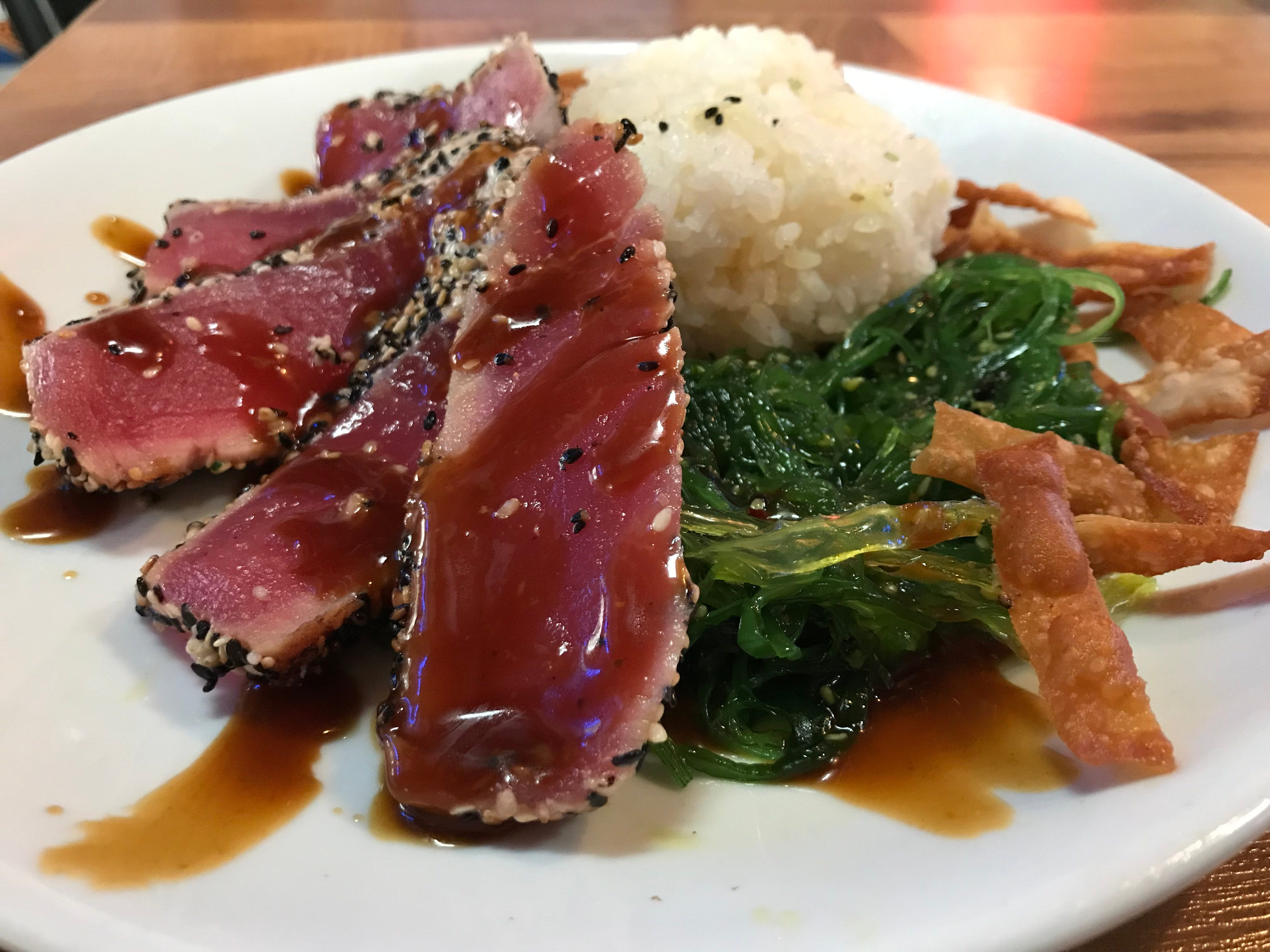 Hollywood's Roadhouse chefs Dan Gruncel and Dave Olivas have been hard at work lately coming up with new specials for the menu such as the Seared Ahi Tuna with seaweed salad, sticky rice and wonton strips.