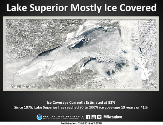 Lake Superior is mostly ice-covered, but the Apostle Islands National Lakeshore ice caves are not expected to be accessible this winter.