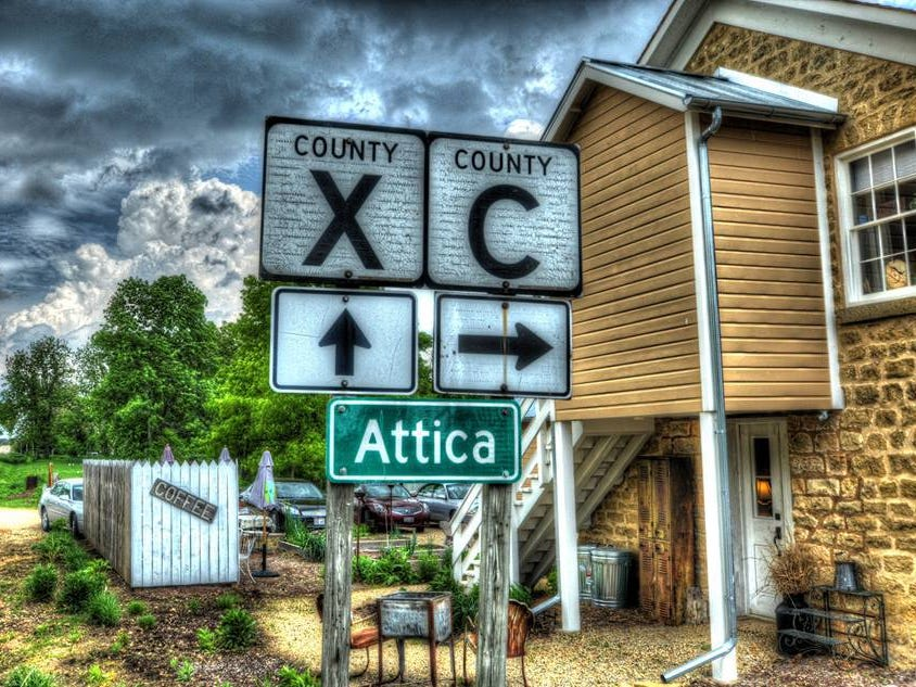 Attica is in Green County at the intersection of county roads X and C, as shown in this illustration.