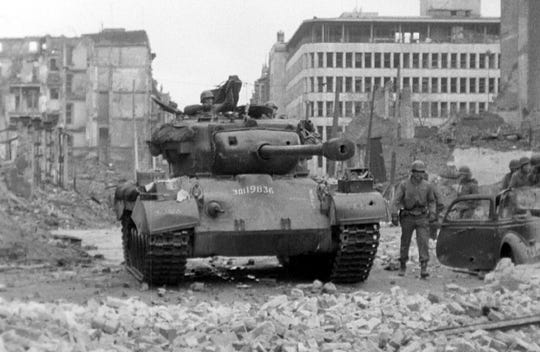 Clarence Smoyer's Pershing tank following the battle of Cologne in March 1945.