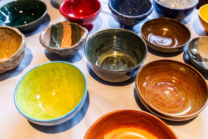 A selection of beautiful hand-crafted bowls were available for purchase during the 8th annual Empty Bowls event at the LaFollette Park Pavilion in West Allis on Saturday, March 2, 2019. The goal of the event, hosted by the Friends of LaFollette Park, is to collect food and raise funds for West Allis food pantries.